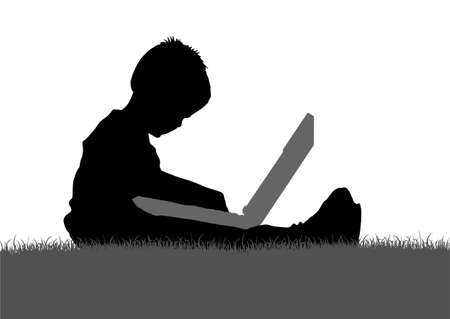vector child with notebook Vector