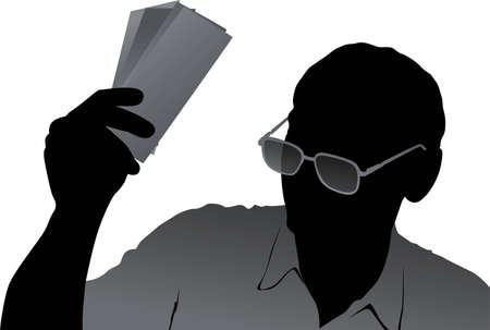 senior business man: vector senior with money Illustration