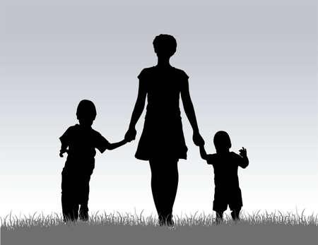 vector mother with children on meadow Vector