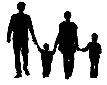happy family isolated: vector family of four