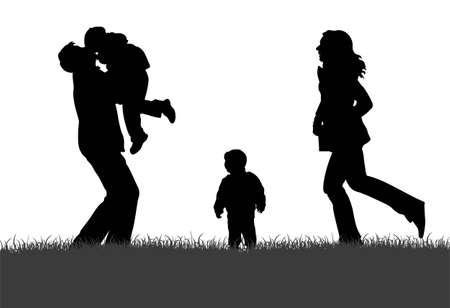 Vector Silhouette Family of four Vektorgrafik