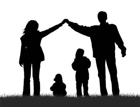 vector silhouette family house Vector