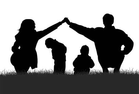 vector children in parents house Vector