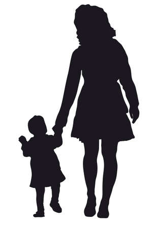 two parent family: mother with baby vector Illustration