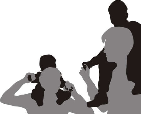 lift and carry: family with children on shoulders vector