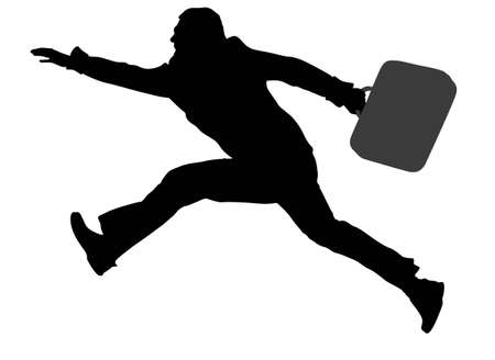 running businessman: run fly man with bag vector Illustration