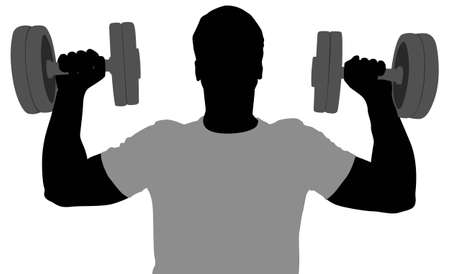 hand with dumbbell: gym man with dumbbells vector Illustration