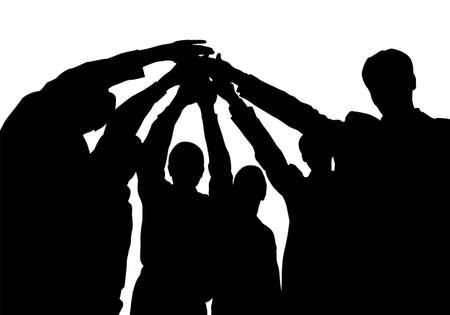 la union hace la fuerza: amigos de negocio con el vector de manos Vectores