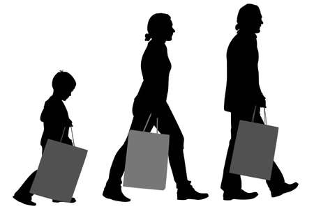 kid shopping: family with big bags vector