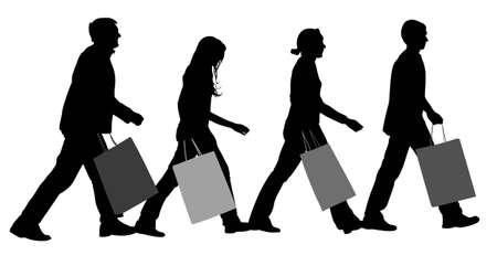 frau ganzk�rper: Shopping-Gruppe-Vektor