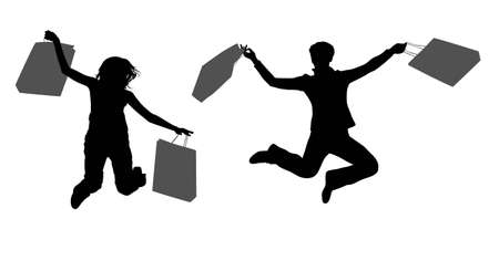 helpmate: jumping couple girls with bags vector Illustration