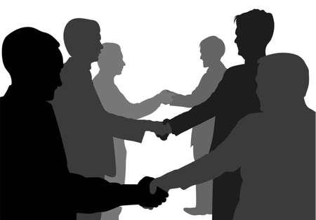 dandose la mano: vector de socios de negocio de estrechando manos Vectores
