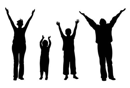 family of four with hands up vector Vector