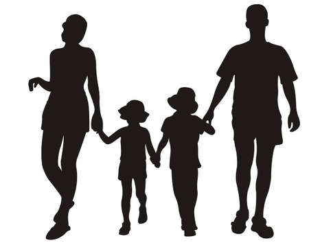 family on resort vector Stock Vector - 6627117