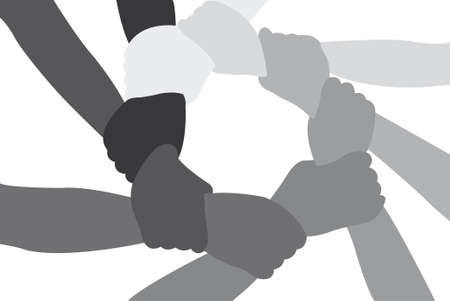 strength in unity: Eight friends have crossed hands vector