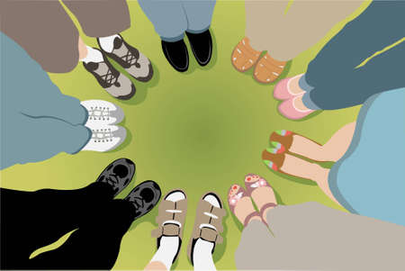 oneness: Eight friends stand in a circle vector Illustration