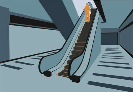 staircases: Persons on escalator in shop vector Illustration