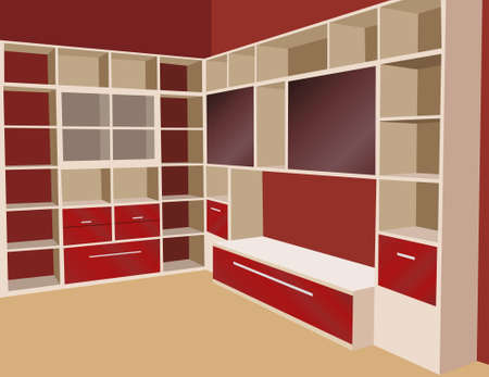 interior lighting: bookcase vector Illustration