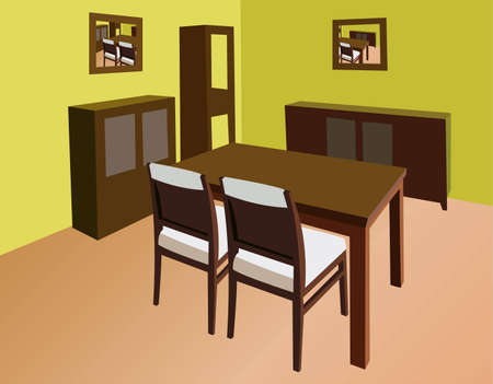 leather chair: dinning room interni vettoriale
