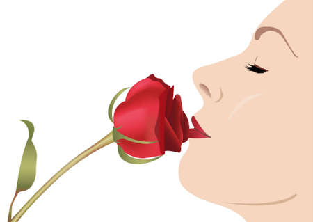 woman with rose vector Vector