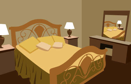 bed frame: luxurious bedroom vector