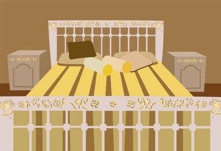 sleeping room: luxurious bed vector