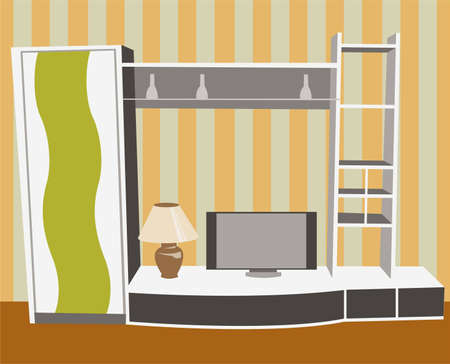 interior with tv vector Stock Vector - 6627385