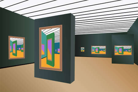 exposition art: art gallery vecteur
