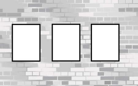 gallerie: three frames on brick wall vector