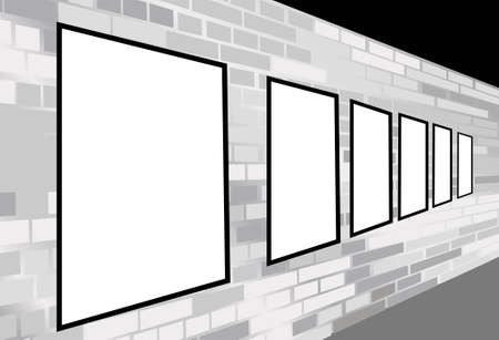 frames on brick white wall vector Vector