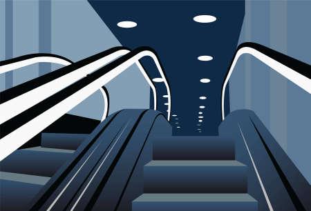 shopping center interior: escalators vector