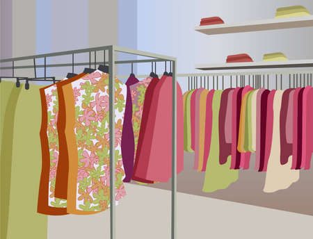 mall interior: vector clothes in shop Illustration
