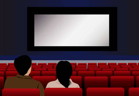 vector couple in cinema Stock Vector - 6629152