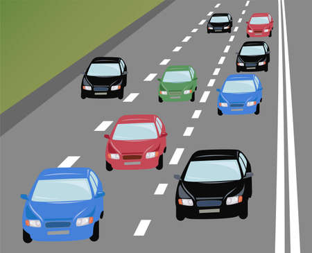 large group of objects: vector many cars on road