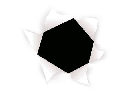 puncture: vector sheet of paper with the hole against the black background