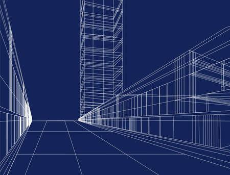 architect drawing: vector scheme house Illustration