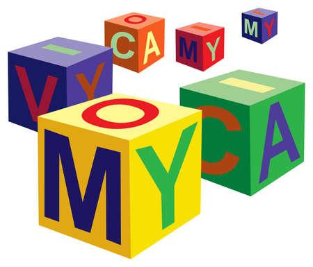 write abc: cubo de juguete con el vector de letras