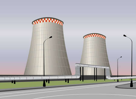 nuclear power station: vector cooling tower