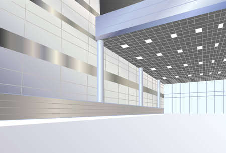 office window view: business interior vector Illustration