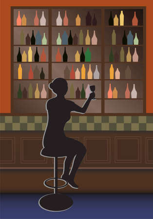 bottle bar and woman vector Stock Vector - 6624568