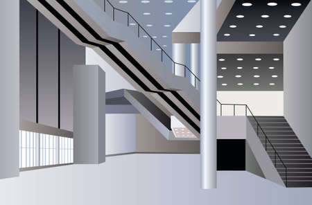 hallway: business interior vector Illustration