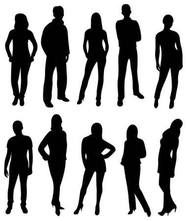 model posing: vector people silhouette