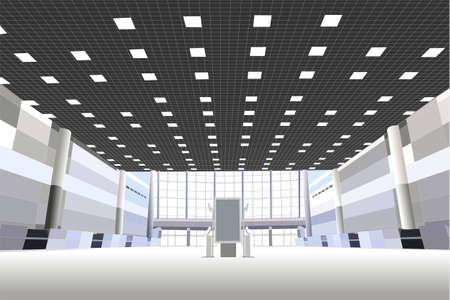 Hall in de business center vector