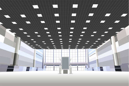 hall in the business center vector Vector