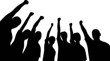 pu�os cerrados: Grupo de amigos hacia arriba las manos vector
