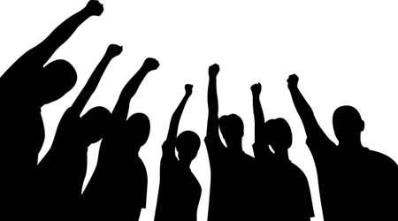 jugendliche gruppe: Gruppe von Freunden nach oben H�nde Vektor