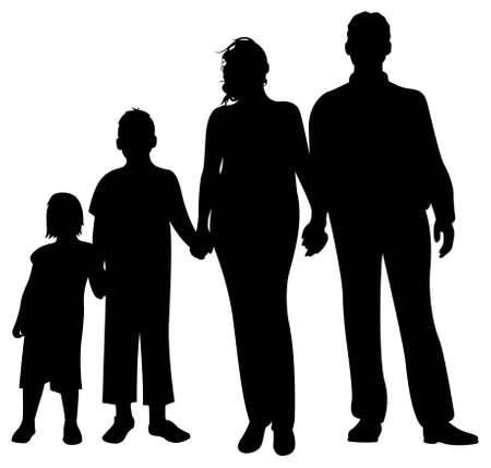 convivencia familiar: vector de silueta familiar