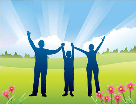 ray tracing: family with son hands up vector Illustration