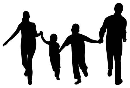 paternidade: running family of four vector