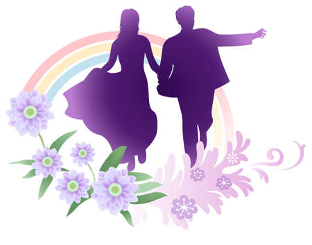 matrimony: vector bride and groom running